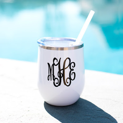 Monogrammed Wine Tumbler from Marleylilly.com