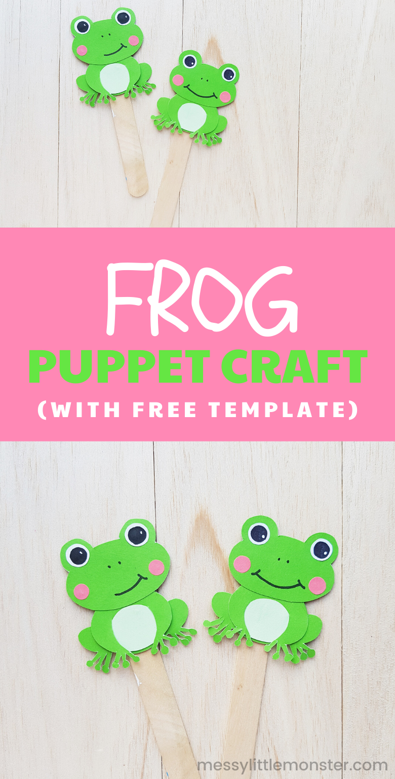 Frog puppet craft for kids with free printable frog template.