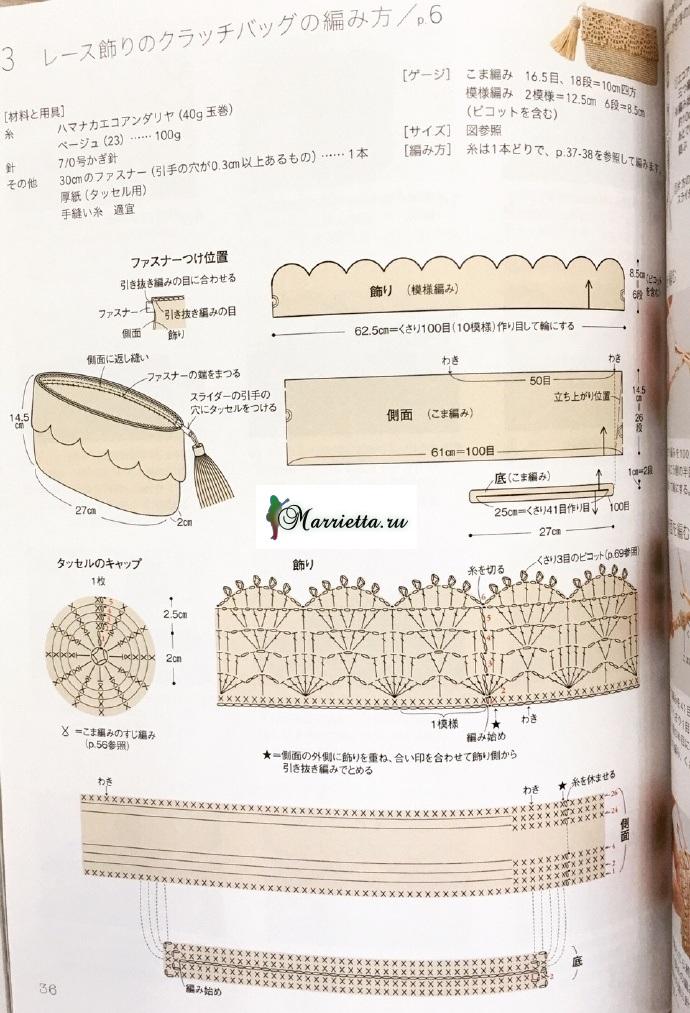 Очень симпатичная косметичка крючком. Схема (4)