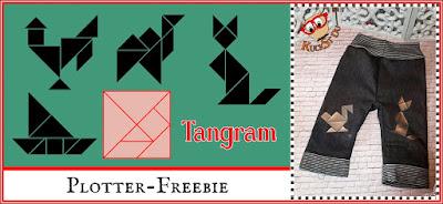 Grafik mit Tangram-Figuren und Beispielfoto