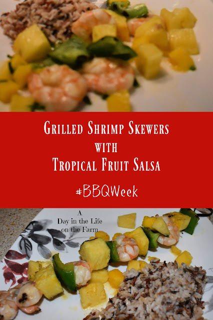 Grilled Shrimp Skewers with Tropical Fruit Salsa pin
