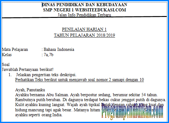 soal UH Bahasa indonesia kelas 7