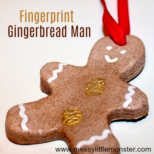 Salt dough fingerprint gingerbread man ornament. A DIY Christmas keepsake idea for toddlers, preschoolers and older kids to make using a cinnamon salt dough recipe.