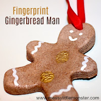 Salt dough fingerprint ginger bread man ornament  - salt dough craft ideas for kids