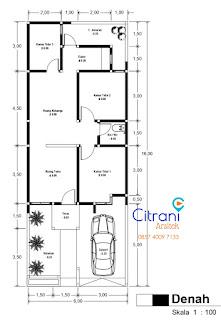 denah rumah 3 kamar tidur di tanah lebar 6 meter - citrani