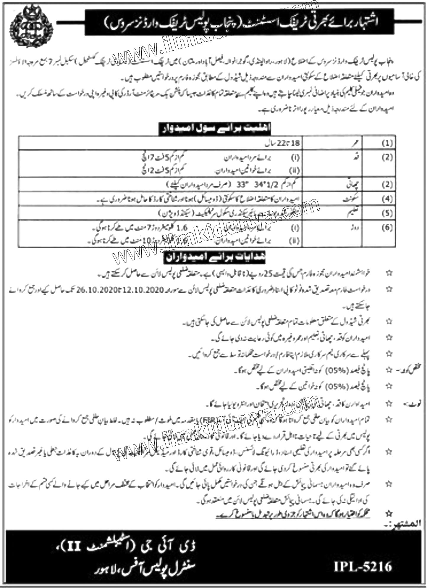 Punjab Police Traffic Assistant Jobs 2020 June