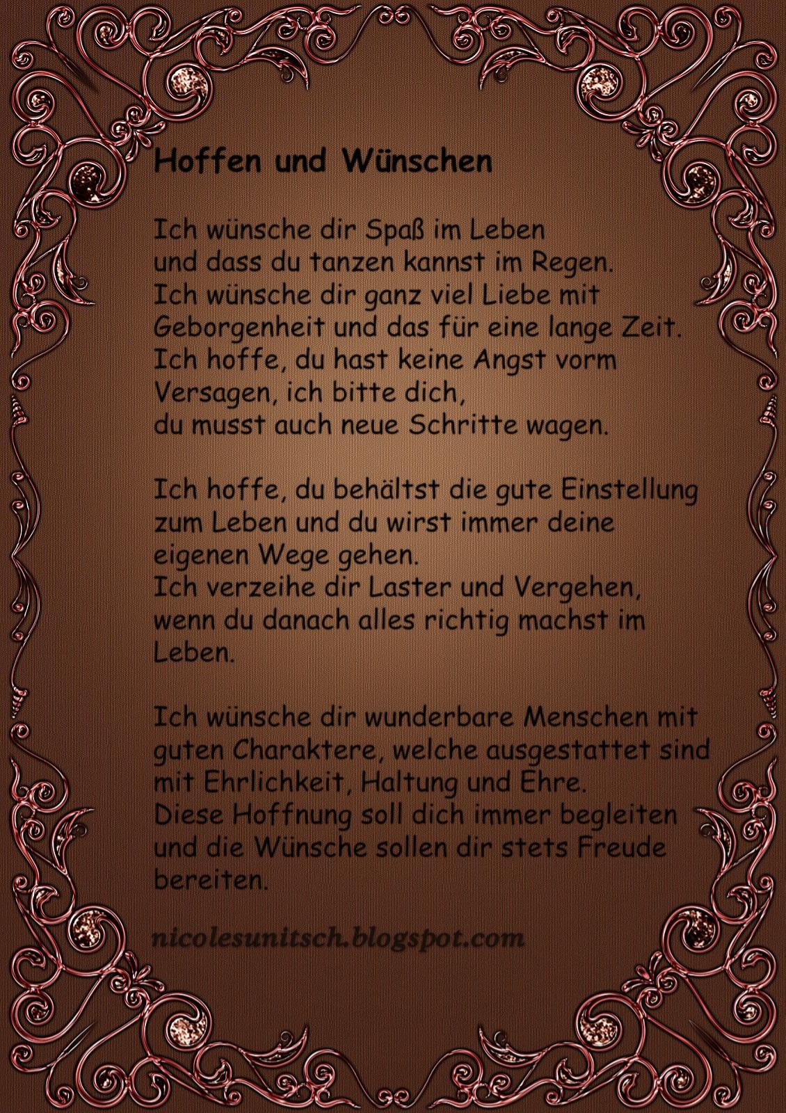 Gedichte Von Nicole Sunitsch Autorin Hoffen Und Wunschen