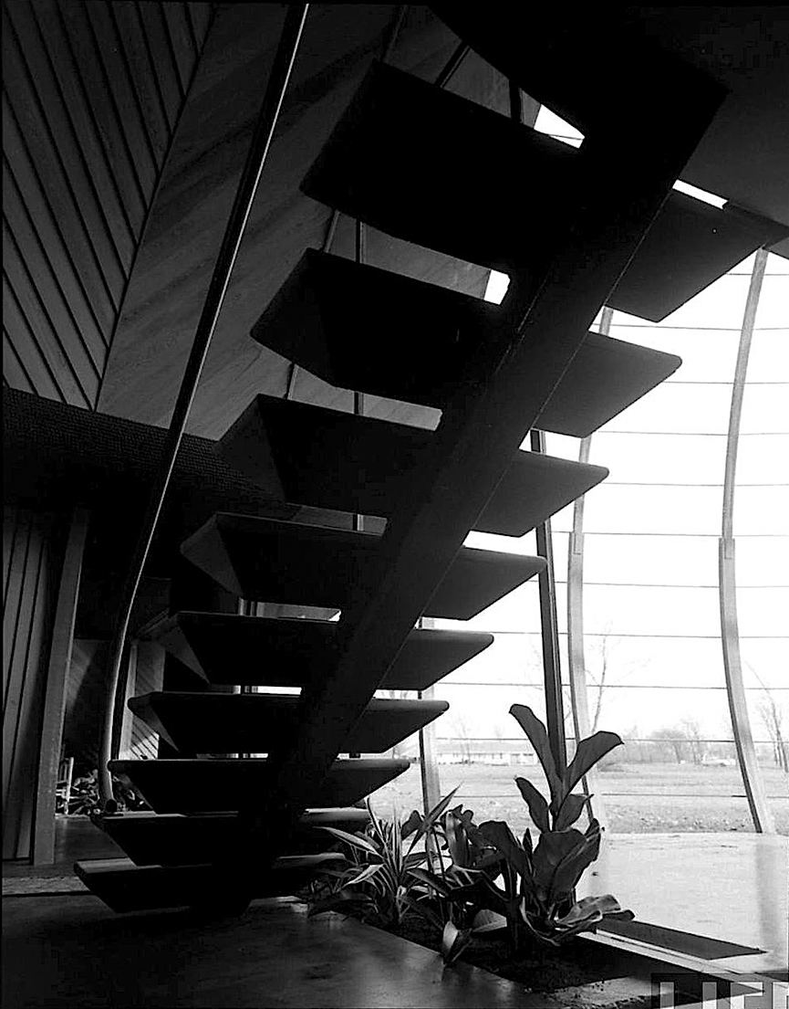 Bruce Goff 1948 modern stairs design, a photograph