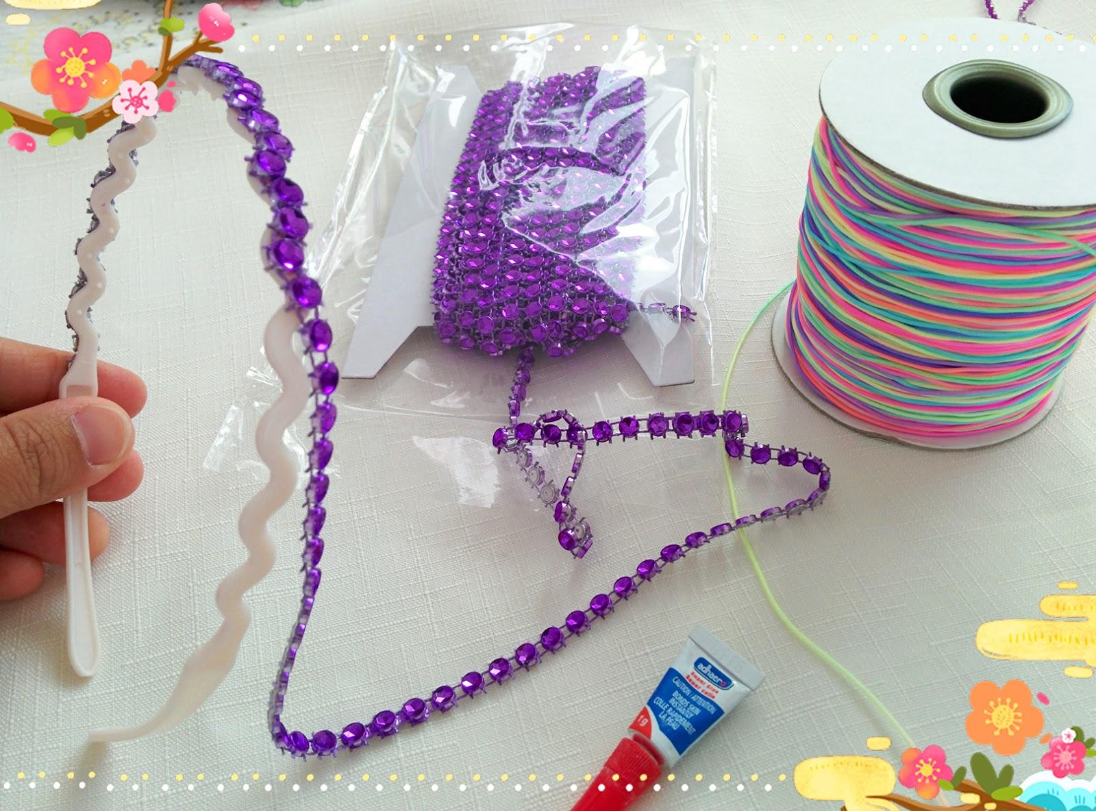 AuRa Treasury  DIY - How to make Rhinestone Headband by using ... cd6e110087c