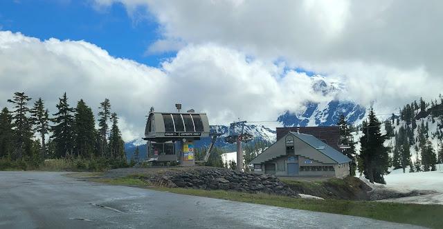 View of the ski lift, the lodge, and the Mt. Shuksan