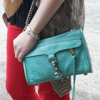 Rebecca Minkoff mini MAC in aquamarine with red skinny jeans | AwayFromTheBlue Blog
