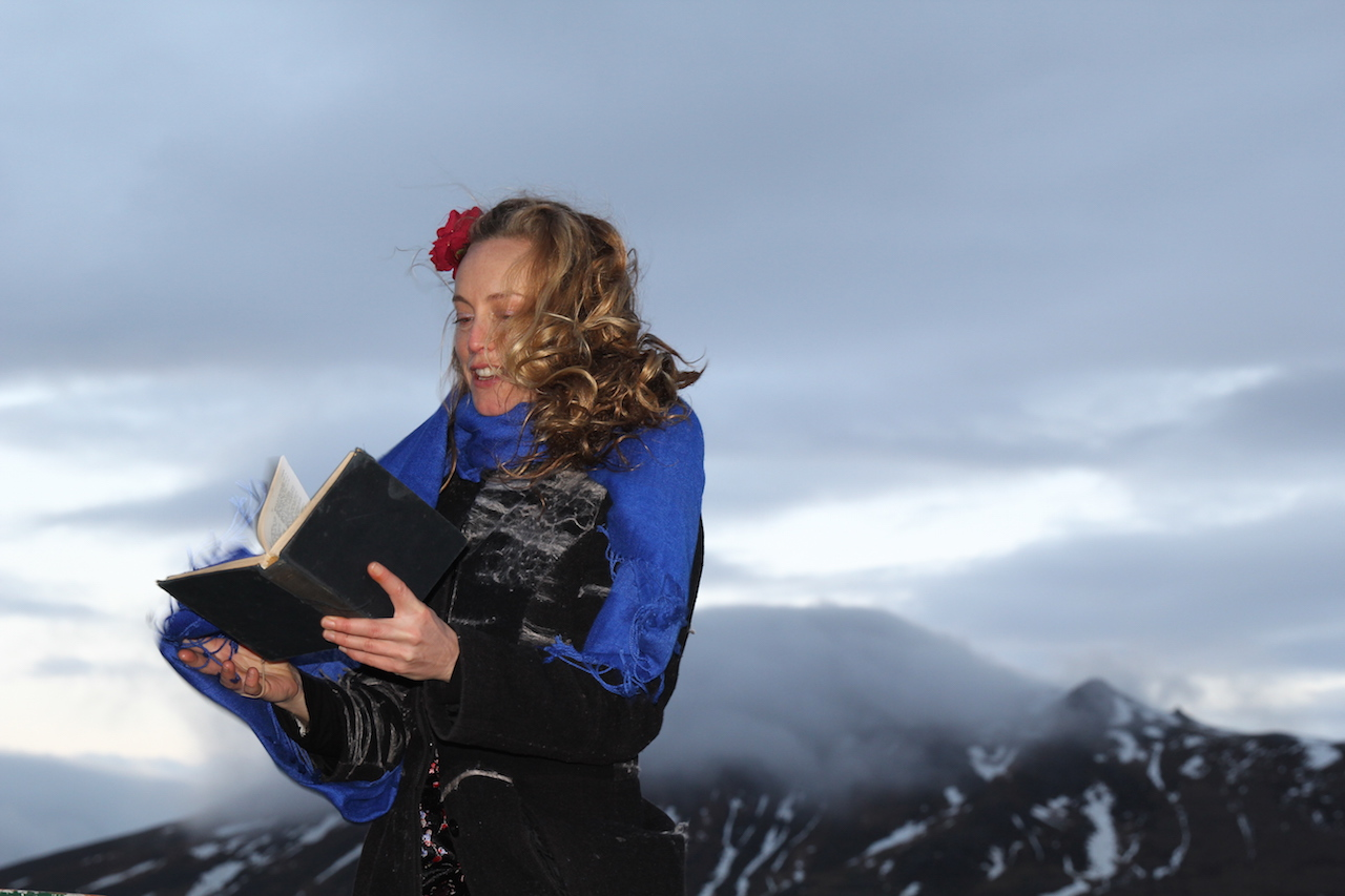 photo by georgina campbell a red nosed ms divine divining in front of spakonufell the prophetess mountain
