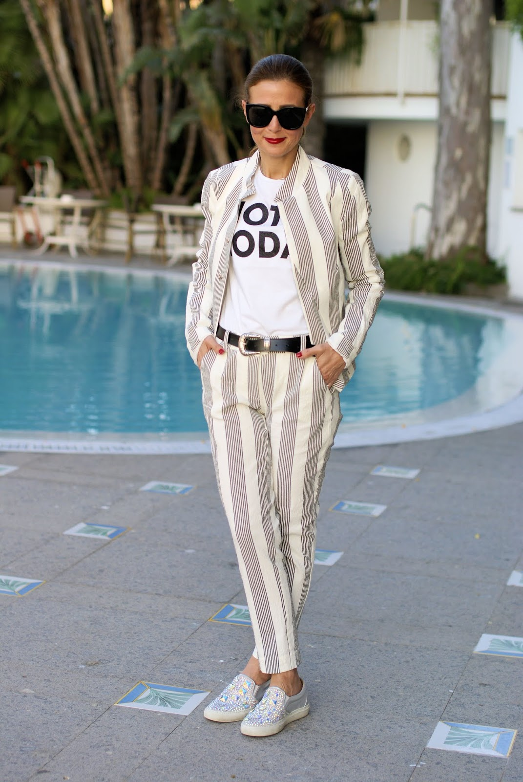 Not today: black and white striped suit on Fashion and Cookies fashion blog, fashion blogger style