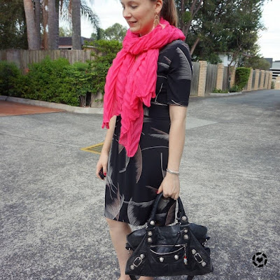 awayfromtheblue instagram | fern print leona edmiston dress with hot pink crinkle scarf balenciaga bag for the office