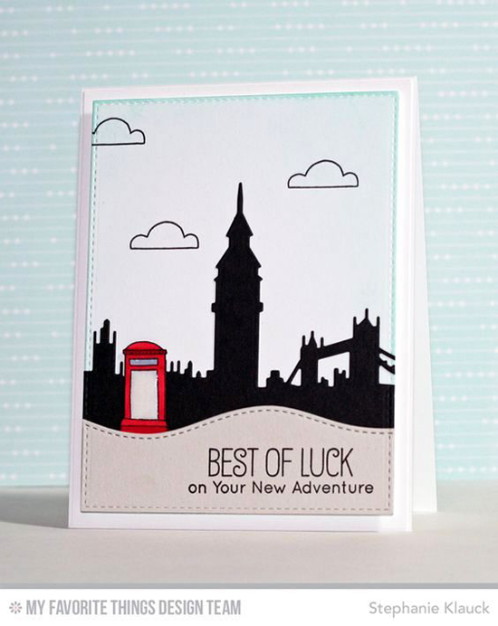 Handmade card from Stephanie Klauck  featuring Birdie Brown Adventure is Calling stamp set, London Mouse stamp set and Die-namics, London Skyline Die-namics #mftstamps
