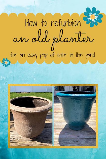 spray painted planter; how to spray paint ceramic planter; diy flower pot spray paint; rust-oleum spray paint; outdoor spray paint