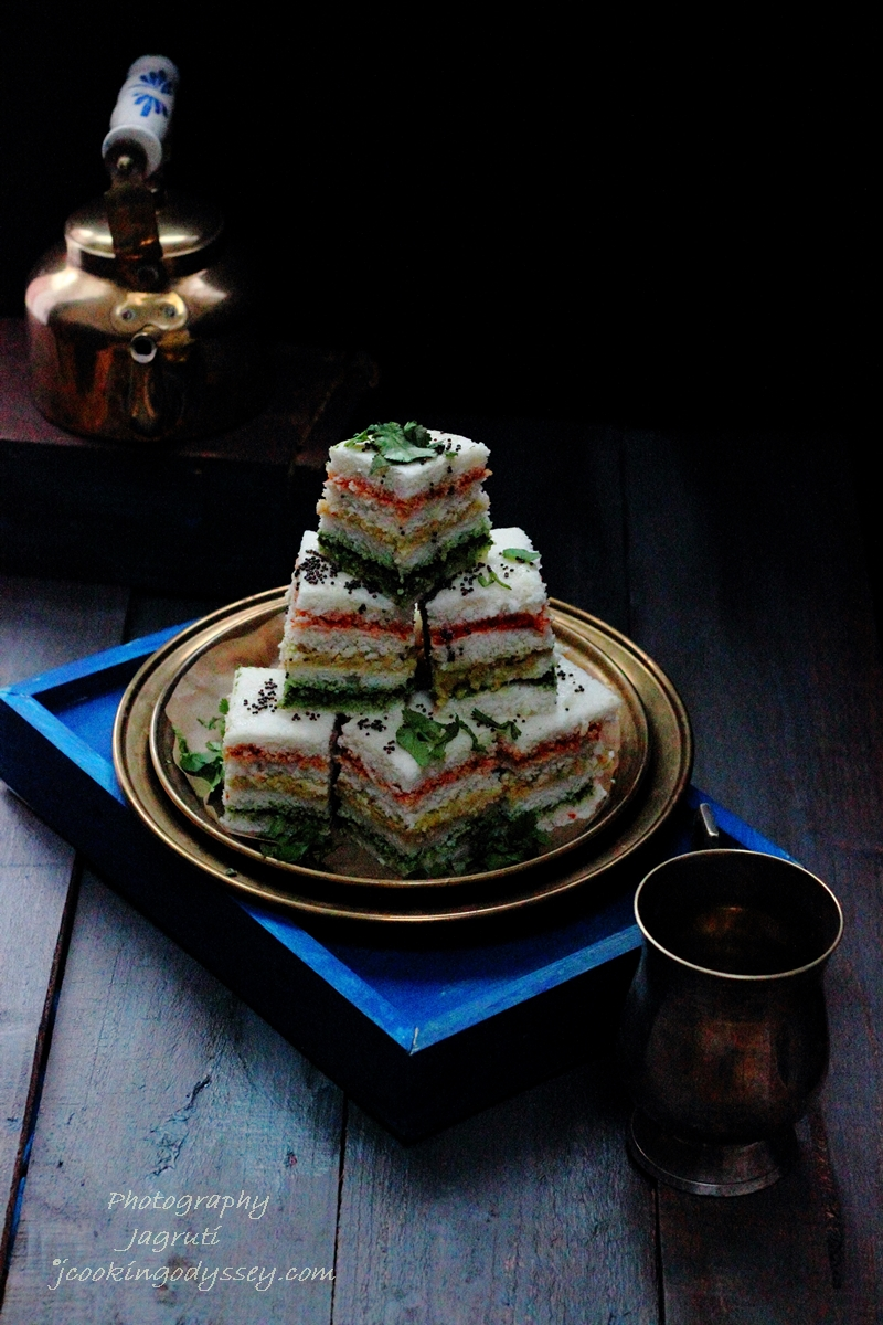 Jagrutis cooking odyssey three layered sandwich dhokla gujarati revive your flagging spirit any time of the day with these tasty and filling sandwich dhokla accompanied by a pot of good strong masala chai tea you forumfinder Choice Image