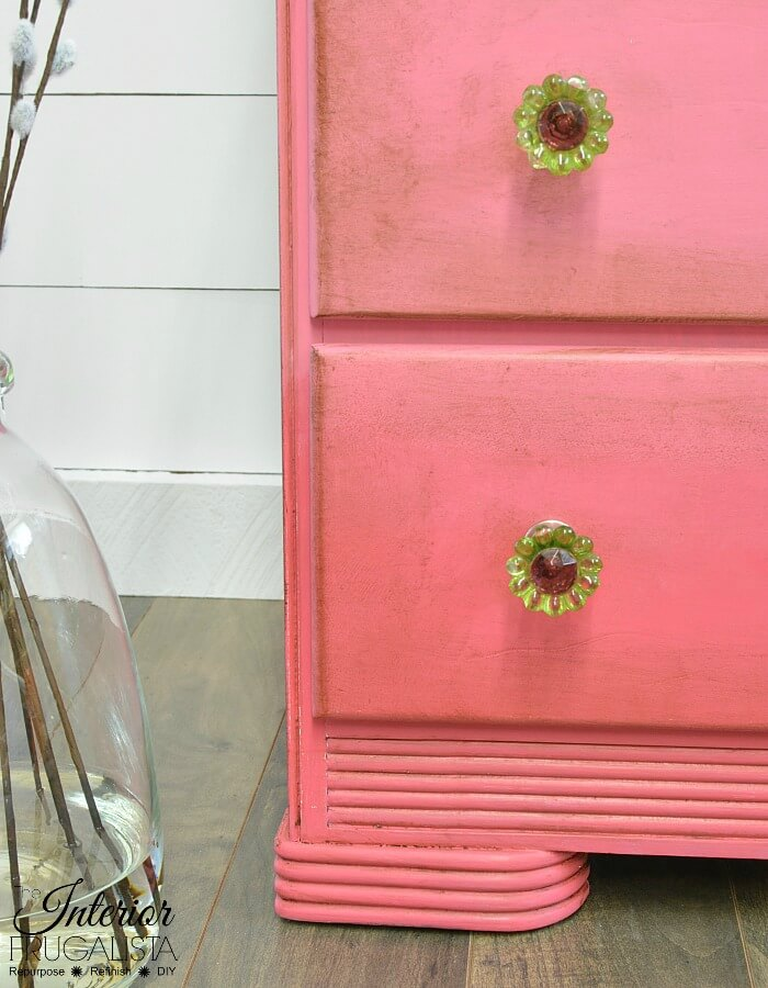 Pink Ombre Waterfall Dresser Glass Knobs