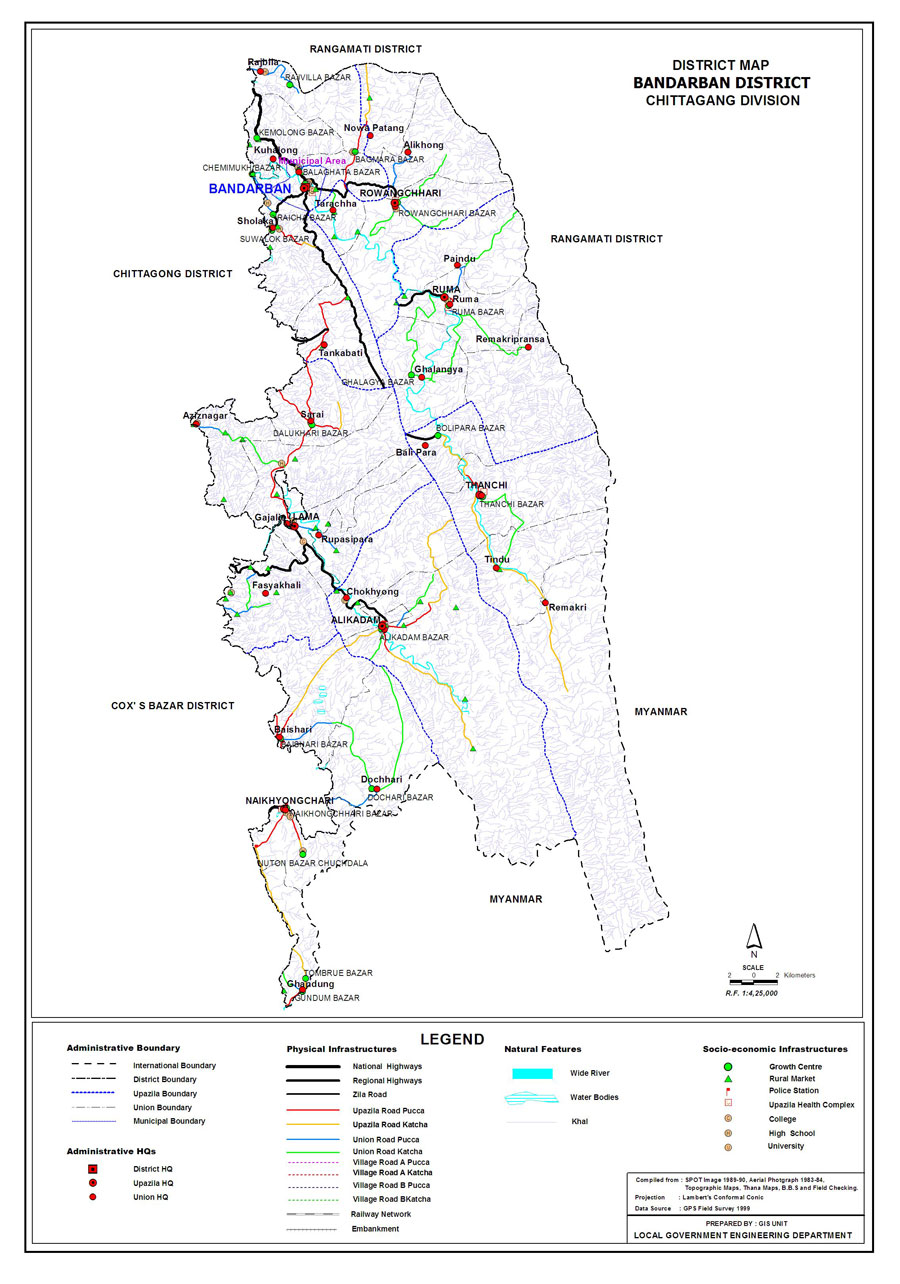 Bandarban District Map Bangladesh