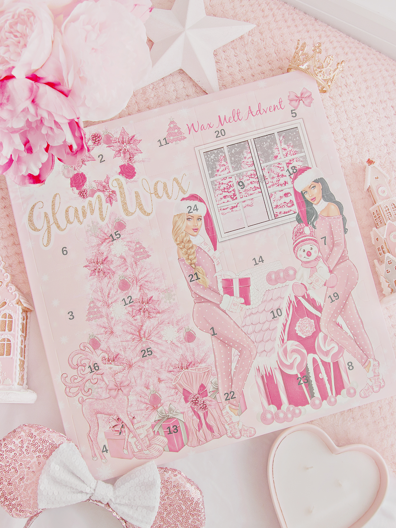 Photo of Glam Wax advent calendar on pink background