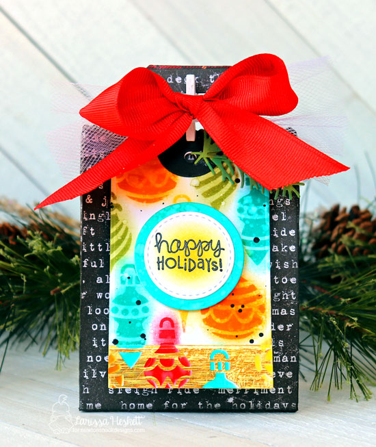 Beautiful Christmas Card and Gift Bag by Larissa Heskett | Ornaments Stencil and Holiday Fringe Stamp Set by Newton's Nook Designs #newtonsnook #handmade