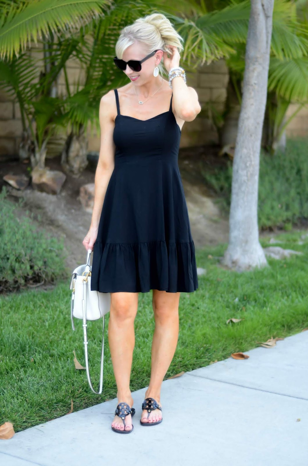 4cab39b86cca0c Black Sundress + Tory Burch Miller Dupes