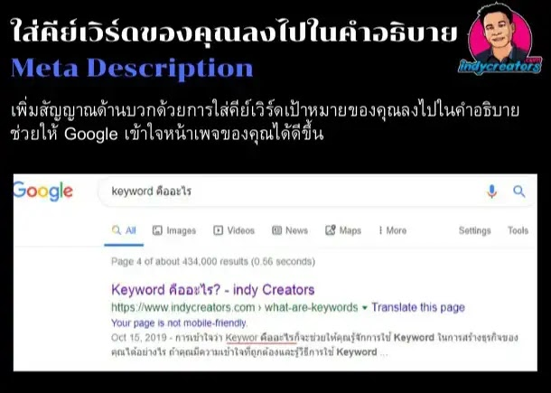 keyword ใน meta description เป็นอัลกอริทึม google