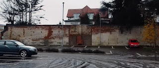 An outdoor car park fireplace in Felixstowe - the last remnant of the Ordnance Hotel in the seaside resort