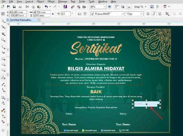 Desain Sertifikat Pesantren Ramadhan elegan Dengan CorelDraw
