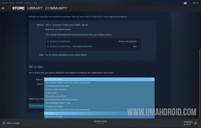 Pilih Alasan Mengembalikan Game Steam