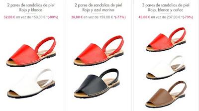 packs de sandalias menorquinas baratas