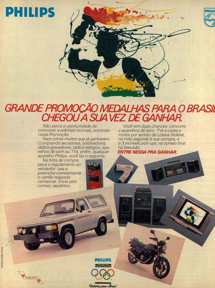 Campanha da Philips com ação promocional às vésperas dos Jogos Olímpicos de 1988