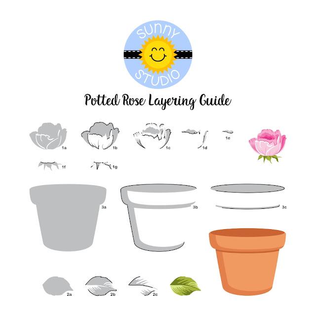 Sunny Studio Blog: Layered Potted Rose Terracotta Pot & Rosebud Stamp Color Layering Guide