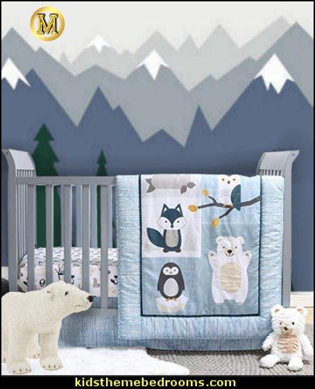 Nordic Wonder 4 Piece Arctic Baby Crib Bedding Set arctic animals bedroom decor -  Arctic nursery decor - Arctic Animals wall decals  -  arctic nursery bedding - penguin nursery decor -  polar bear nursery - Nordic Wonder baby bedrooms