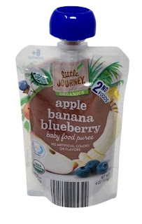 A stock image of Little Journey Organics Apple Blueberry Banana Baby Food Puree Pouches