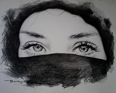 صور رسم بنت مقنعة