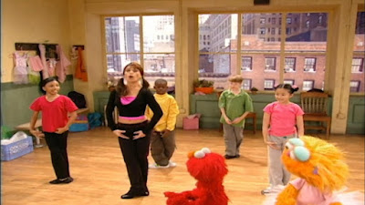 Zoe and Elmo carefully watch Paula Abdul's dance choreography. Sesame Street Zoe's Dance Moves
