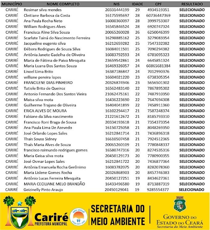 Resultado Preliminar dos Candidatos Selecionados e Cadastro Reserva do AJA de Cariré-CE