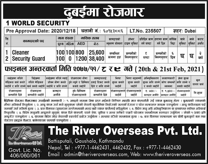 Jobs in Dubai for Nepali, salary NRs 38,400
