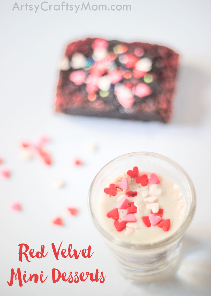 These Red Velvet Mini Desserts are a perfect go-to dessert for a Valentine Party  that can be thrown together quickly & perfect for kids to put together too