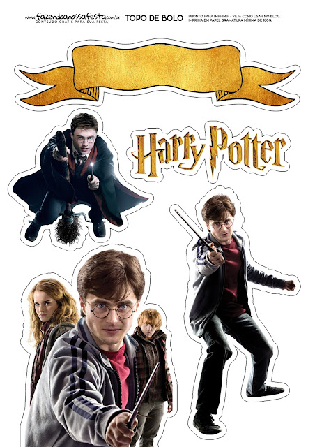 Harry Potter: Free Printable Cake Toppers.
