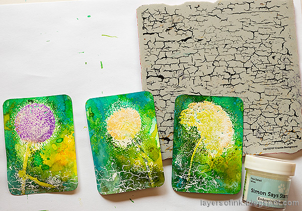 Layers of ink - Wildflowers Artist Trading Cards Tutorial by Anna-Karin Evaldsson. With Simon Says Stamp Laugh In Flowers stamp set. Stamp with the Crackle Background.
