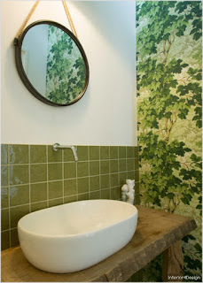 Redesigned bathroom tiles bright green