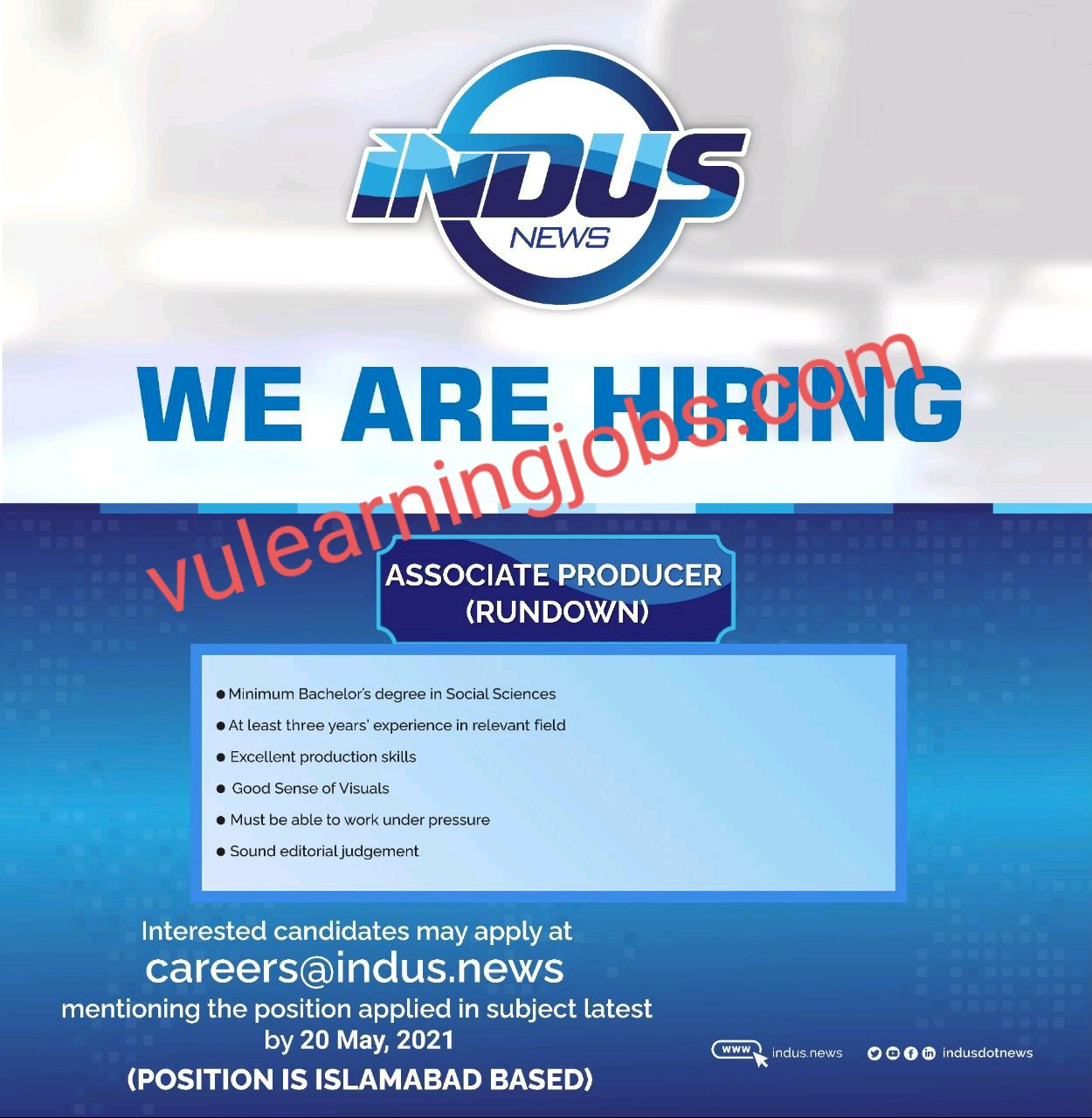 Indus News Jobs In Pakistan May 2021 Latest | Apply Now