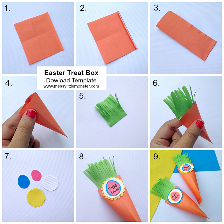 Easter Carrot Treat Box Paper Craft Messy Little Monster