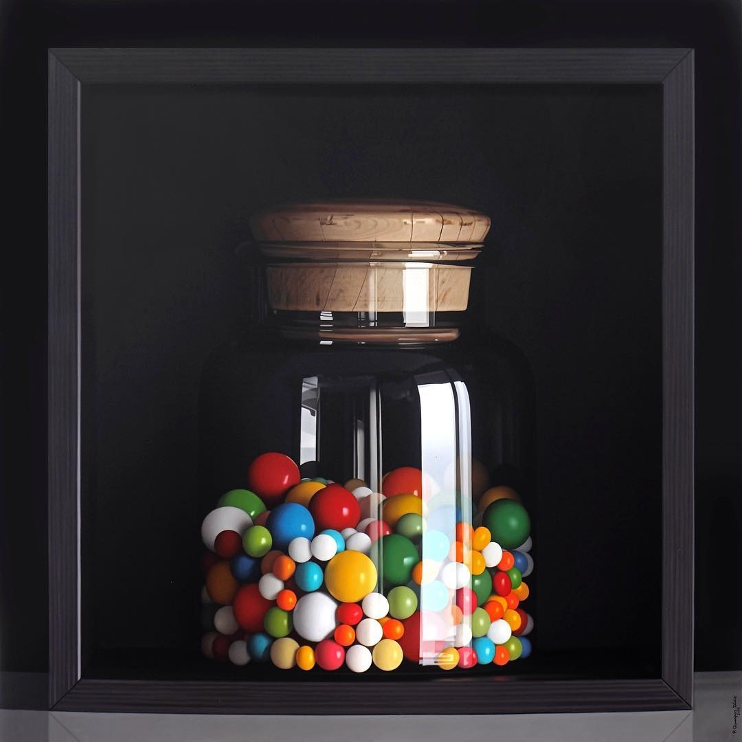 05-Jelly-Beans-Pedro-Campos-Realistic-Paintings-Coupled-with-Classic-Items-www-designstack-co