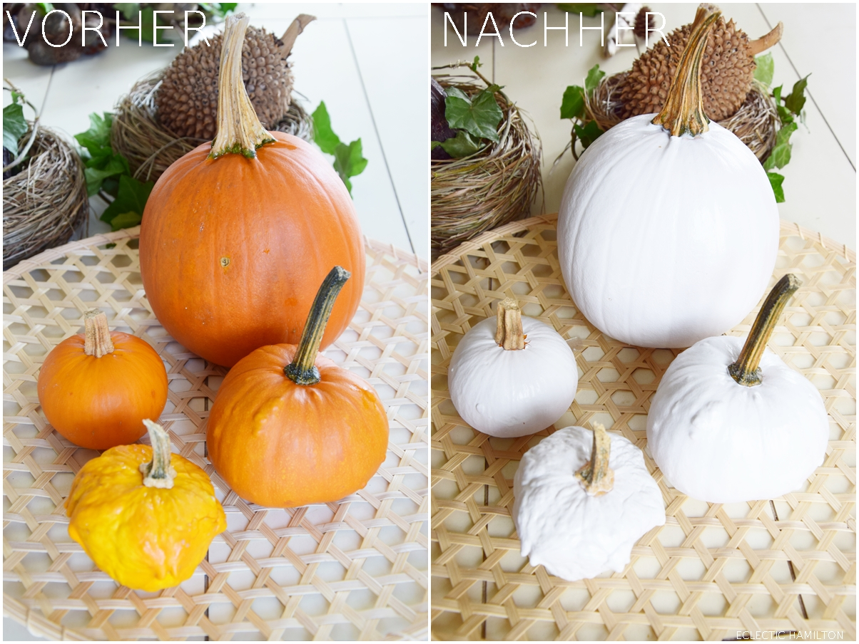 DIY weisse Kürbisse selbermachen. Dekoideen mit Kürbis für den Herbst. Kürbisse natürlich dekorieren. Herbstdeko, herbstliche Deko,