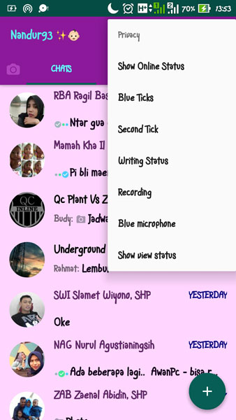 Screenshot WhatsApp+ Mod Apk - Nandur93
