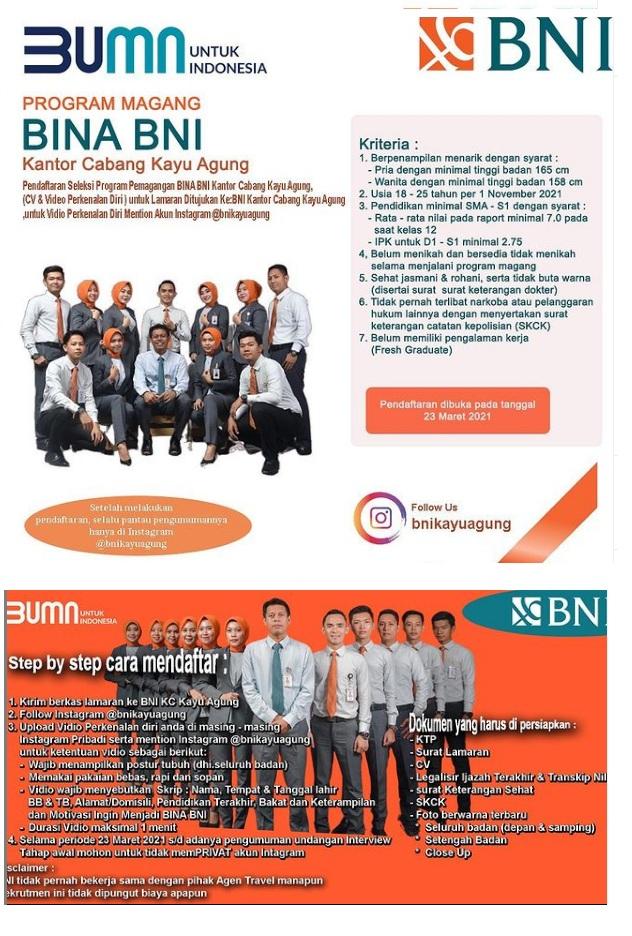 BUMN BINA Bank BNI Tingkat SMA SMK S1