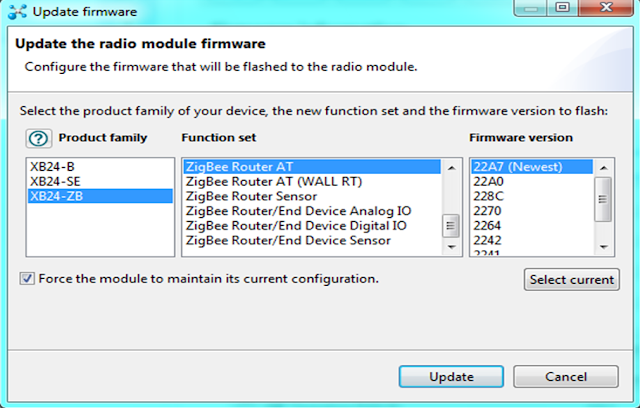 Updating the firmware of the ROUTER in XCTU to configure Zigbee (Xbee)